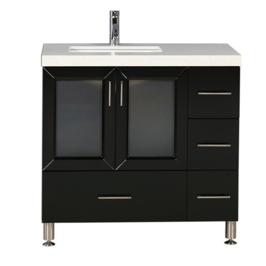 "Design Element Westfield 36"" Single Sink Vanity in Espresso with White Quartz Countertop, 36"" W x 22"" D x 35"" H"
