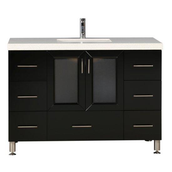 "Design Element Westfield 48"" Single Sink Vanity in Espresso with White Quartz Countertop, 48"" W x 22"" D x 35"" H"