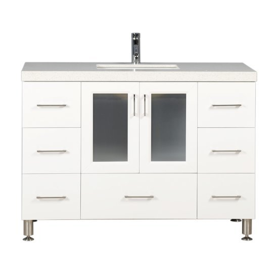 "Design Element Westfield 48"" Single Sink Vanity in White with White Quartz Countertop, 48"" W x 22"" D x 35"" H"
