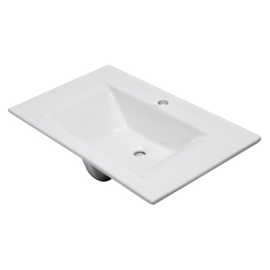 "EAGO Ceramic 32"" x 19"" Rectangular Drop In Sink in White, 31-1/2"" W x 18-7/8"" D x 7-1/2"" H"