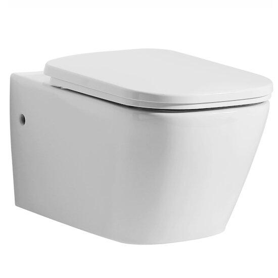 "EAGO Modern Ceramic Wall Mounted Toilet in White, 14-1/8"" W x 22"" D x 13-3/4"" H"
