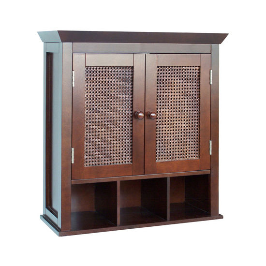 Cane Wall Cabinet w/Cubbies