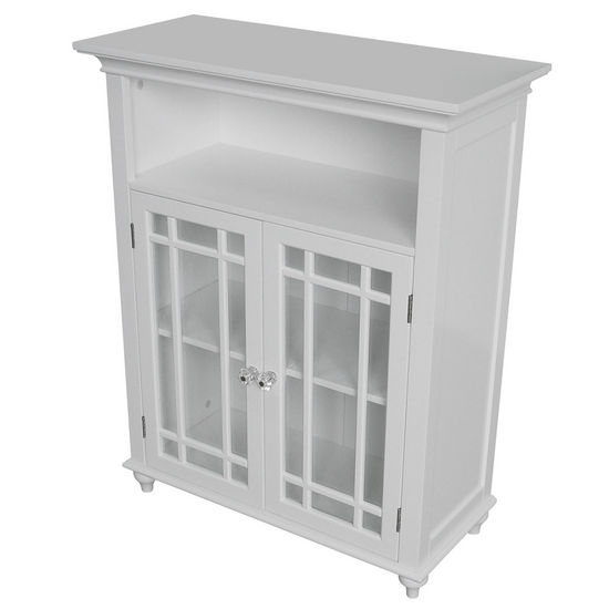 Echelon Home - Neal Double Door Floor Cabinet, White Finish