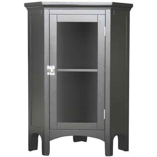 Echelon Home - Madison Avenue Corner Floor Cabinet, Dark Espresso