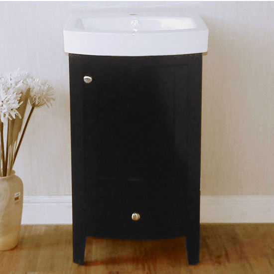 "Empire Arch 21"" Semi-Round Black Vanity with Two Doors And One Drawer, 18-1/3''W x 15-3/5''D x 32''H"