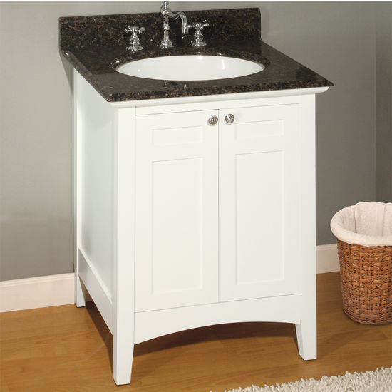 Empire Biltmore Solid Wood White Bathroom Vanity 24""