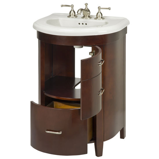 vanities bella 23 39 39 one door and one bottom drawer semi round vanity
