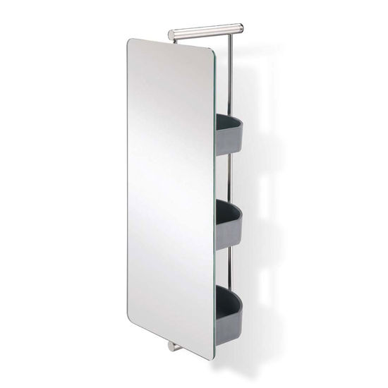 empire waldorf polished ss swivel mirror with shelves