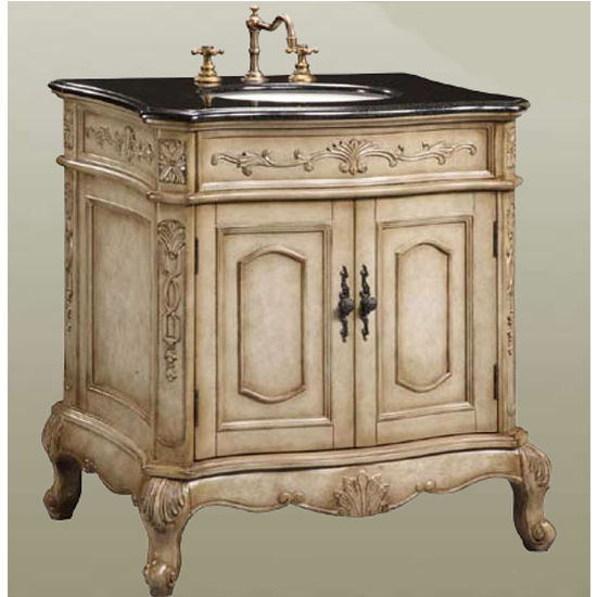 Empire - Verona Vanity w/Black Granite Countertop, Antique White