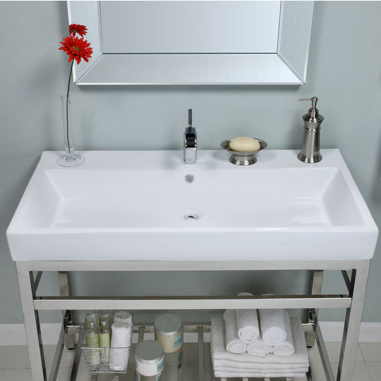 Bathroom vanities stainless steel south beach 40 39 39 vanity console by empire - Empire kitchen and bath ...