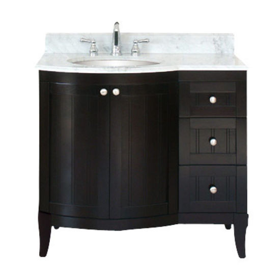 "Empire 36"" Malibu 100 Vanity, Bowl On Left, Dark Mahogany"