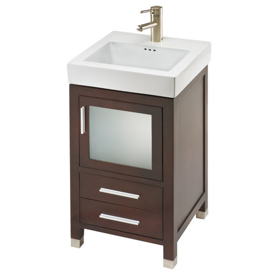"Empire 18"" Chelsea One Door With Frosted Glass and Two Bottom Drawers Vanity For New City Sink, Dark Cherry"