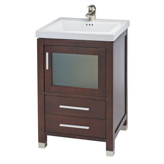 "Empire 21"" Chelsea One Door With Frosted Glass and Two Bottom Drawers Vanity For Tribeca Sink, Dark Cherry or White"