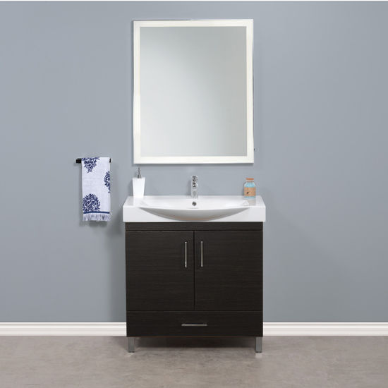 "Empire Industries Daytona 2 Doors and 1 Bottom Drawer Bathroom Vanity for 34"" Ipanema Ceramic Sink Top in Blackwood with Polished or Satin Leg Frame and Hardware"