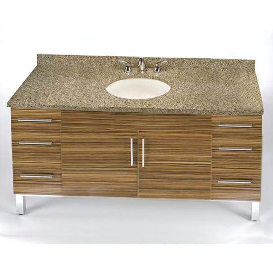 "Empire Daytona 60"" Vanity for Single Bowl Cut-Out Stone Countertops with 2 Doors & 6 Drawers"