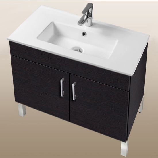 "Empire Industries Daytona Collection 30"" 2-Door Bathroom Vanity in Blackwood with Polished or Satin Leg Frame and Hardware"