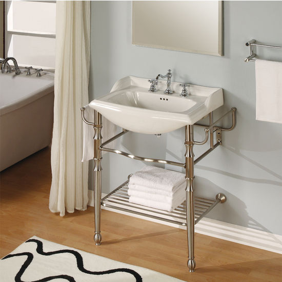 "Empire-Empire 31"" Metal Bathroom Vanity Console with Satin Nickel Finish"