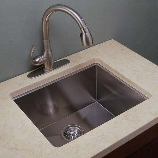 Empire 18 Gauge Zero Radius Single Undermount Sink in Stainless Steel, 22''  W