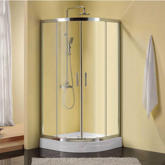 "Empire Corners Series Immerse Round 6mm (1/4"") Thick Clear Tempered Glass Shower Doors Enclosure, 75"" Height"