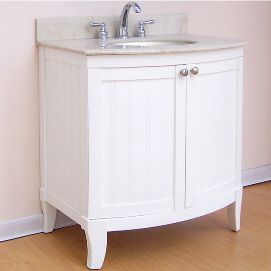 "Empire Malibu Collection White Bathroom Vanity 30"" W"