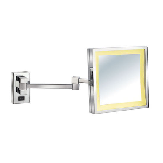 Ei Mw 101 Lighted Wall Mount Square Tilt Cosmetic Mirror 8 39 39 W X 8 H With Extending Arm 5x