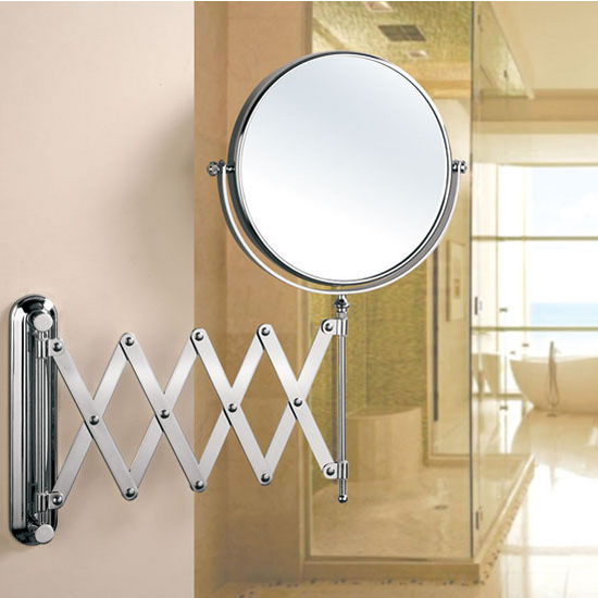 Empire Wall Mount Round 360 Swivel Cosmetic Mirror 8 Diameter With Scissor Design Extending