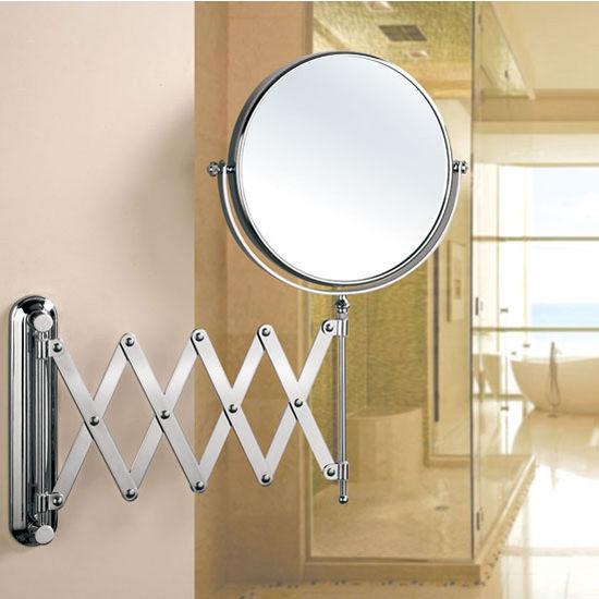 Empire Wall Mount Round 360 Swivel Cosmetic Mirror 8 Diameter With Scissor Design Extending