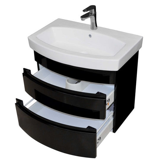 """Empire Industries Royale Collection 28"""" Wall Hung 2 Drawers Bathroom Vanity, Base Only in Black Lacquer, 26"""" W x 17-5/16"""" D x 21-1/2"""" H"""