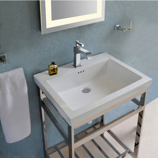 Bathroom vanities stainless steel south beach 24 39 39 vanity console by empire - Empire kitchen and bath ...