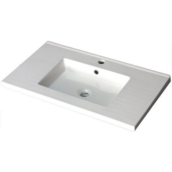 """Empire Industries 30"""" Pearl Ceramic Top Sink with Single Hole or 8"""" Widespread Drill in White, 30"""" W x 18-7/64"""" D x 6"""" H"""