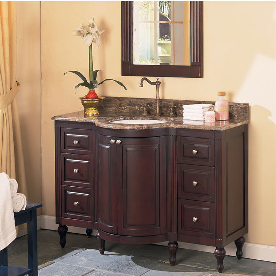 """Empire Park Ave Solid Wood Bathroom Vanity with Distressed Dark Cherry Finish 48"""""""