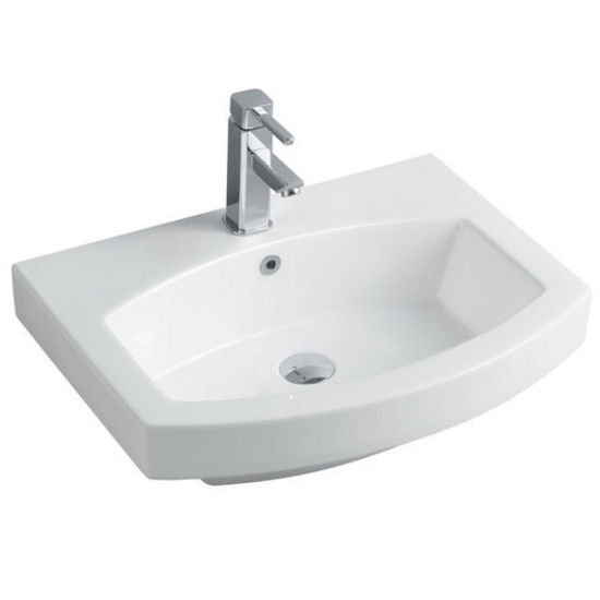 "Empire Royale 24"" Single Hole Round Front White Ceramic Sink, 24''W x 18-1/2''D x 7''H"