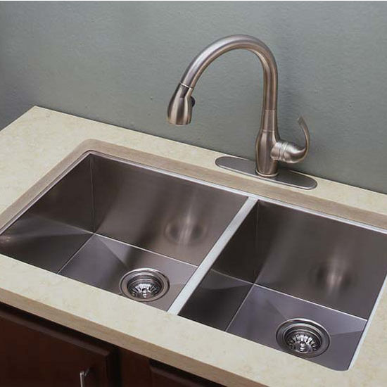 EI-RD3319CC 33\'\' Wide Kitchen Sink 10mm (3/8\'\') Radius 16 Gauge ...
