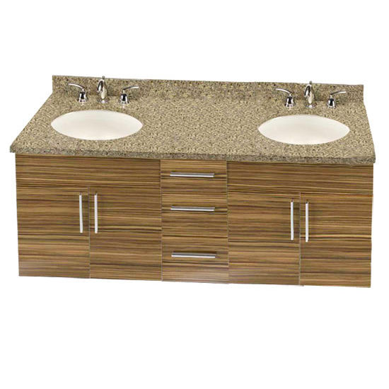 "Empire Wall-Hung Daytona 60"" Vanity for 6122 Double Cut-Out Stone Countertops with 4 Doors & 3 Drawers"