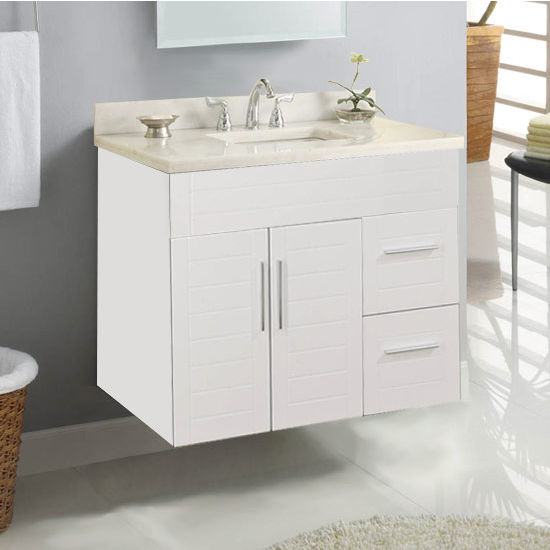 "Empire Wall-Hung Metropolitan 30"" Vanity for 3122 Stone Countertops with 2 Doors & 2 Drawers"