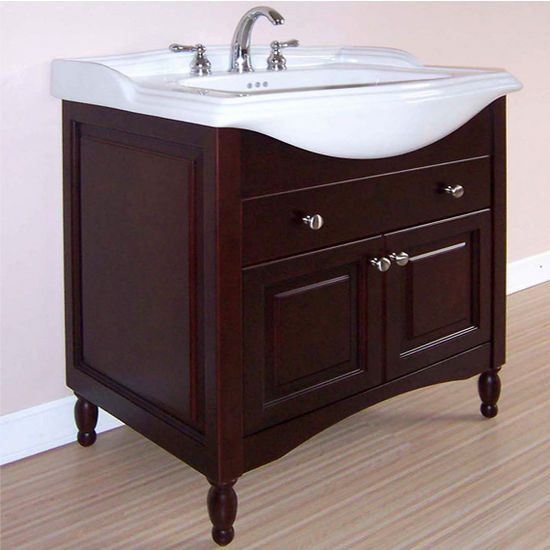 "Empire Windsor 25"" Extra Deep Solid Wood Bathroom Vanity in Dark Cherry"