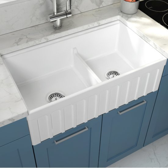 """Empire Industries Yorkshire Reversible Farmhouse Fireclay 33"""" Double Bowl Kitchen Sink in White, 33"""" W x 18"""" D x 10"""" H"""