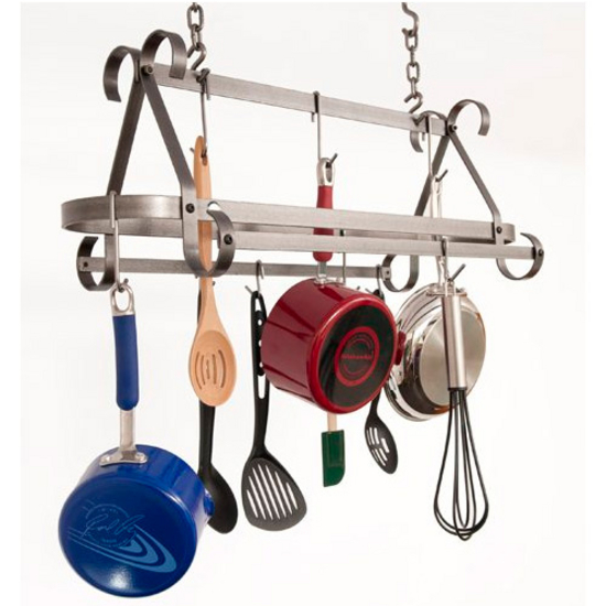 "Enclume Compact Scrolled Hammered Steel Pot Rack, 30""W x 12""D x 20""H"
