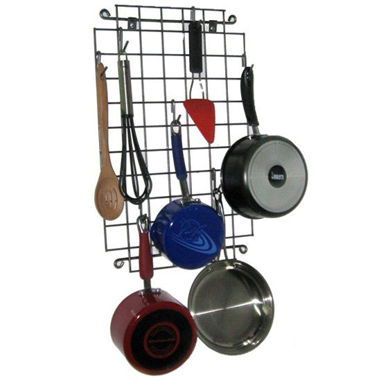 "Enclume Wall-Mounted Grid Pot Rack in Hammered Steel, 23""W x 14""D x 1""H"