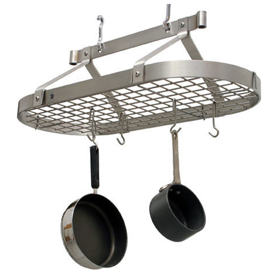 Ceiling Mounted Three Foot Oval Pot Rack PR16B