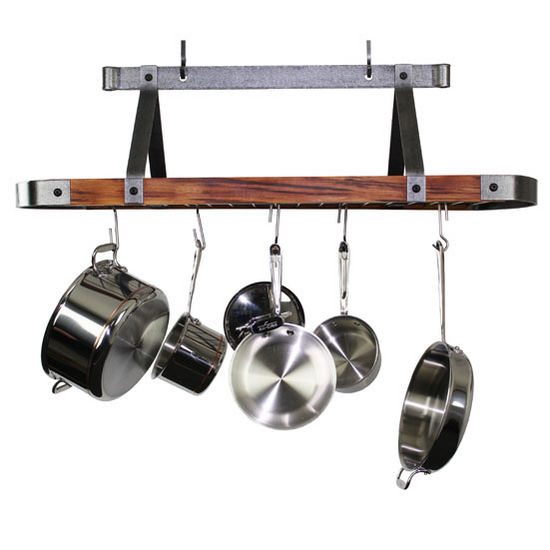 """Enclume Signature Collection 45"""" Oval Ceiling Rack with Tigerwood in Hammered Steel, 44-1/4"""" W x 17-1/2"""" D x 22"""" H"""