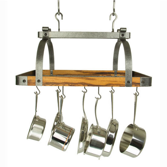 """Enclume Signature Collection 30"""" Rectangle Ceiling Rack with Tigerwood in Hammered Steel, 30"""" W x 18"""" D x 22"""" H"""