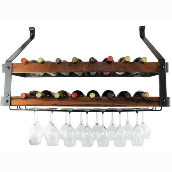 "Enclume Signature Collection Double Wine Rack with Tigerwood in Hammered Steel, 36"" W x 13"" D x 22-1/2"" H"
