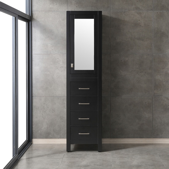 "18"" W Espresso Linen Side Cabinet"