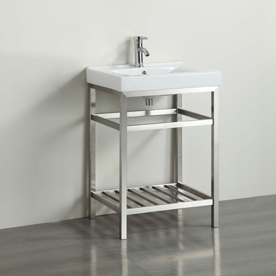 """24"""" W Stainless Steel / White Vanity Illustration View"""