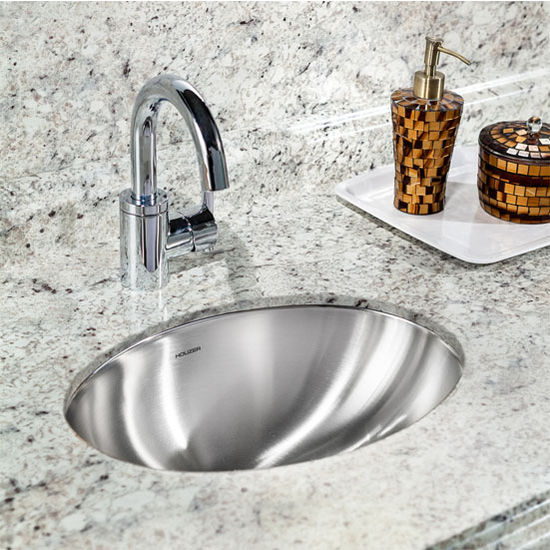 Houzer Undermount Lavatory Oval Sink in Stainless Steel