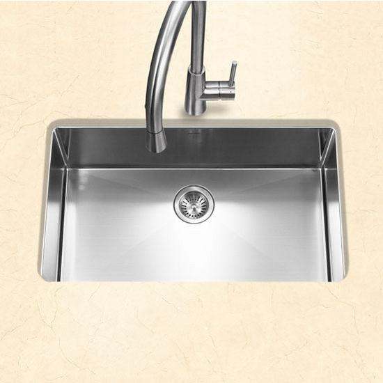 "Houzer #EX-CNG-3200, Savior Series 10mm Radius Undermount Kitchen Large Single Bowl in Satin Stainless Steel, 23"" W x 18"" D, 10"" Bowl Depth"