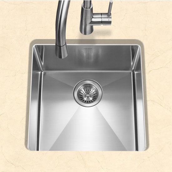 """Houzer #EX-CNR-1700, Savior Series 10mm Radius Undermount Kitchen Bar/Prep Bowl in Satin Stainless Steel, 17"""" W x 18"""" D, 9"""" Bowl Depth"""