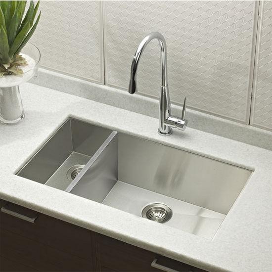 view larger image kitchen sinks   contempo stainless steel zero radius 70 30 double      rh   kitchensource com