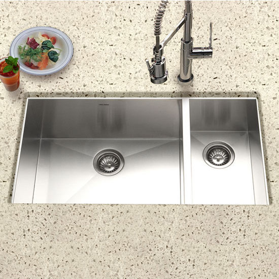 Kitchen Sinks Contempo Stainless Steel ZeroRadius Double - Houzer kitchen sink